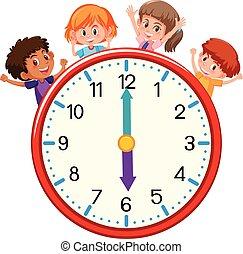 felice, bambini, orologio
