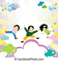 felice, bambini, saltare