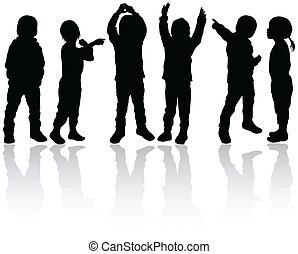 felice, bambini, silhouette