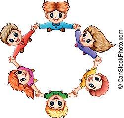 felice, bambini, tenere insieme, mani