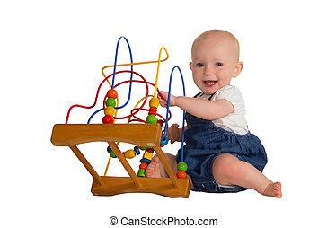 felice, bambino, giocattolo istruttivo