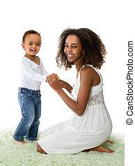 felice, bambino primi passi, madre, africano