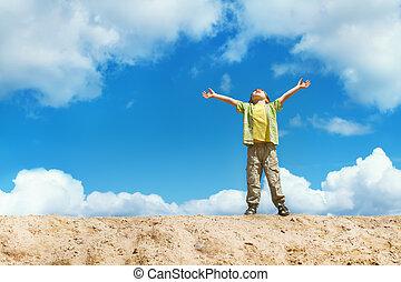 felice, bambino sta piedi, su, il, cima, con, mani sollevate, su., felicità, e, libertà, concept.