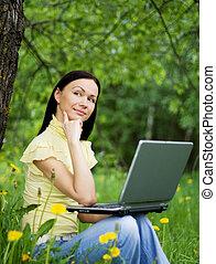 felice, bella donna, lavorativo, outdoors.
