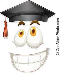 felice, berretto, graduazione, faccia