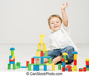 felice, blocchi, gioco, giocattoli