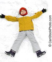 felice, capretto, su, neve