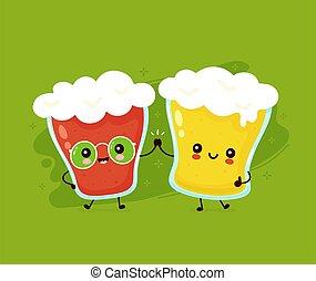 felice, carino, birra, sorridente, vetro