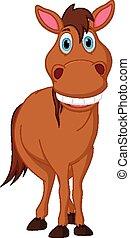 felice, cartone animato, cavallo