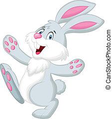 felice, cartone animato, coniglio
