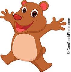 felice, cartone animato, orso