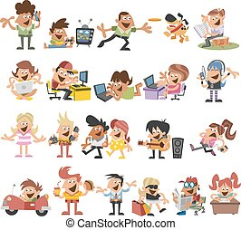 felice, cartone animato, persone