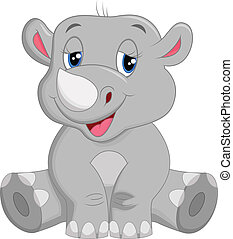 felice, cartone animato, rinoceronte, seduta