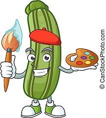 felice, cartone animato, spazzola, icona, pittore, zucchini