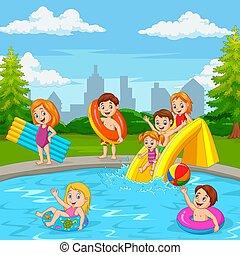 felice, cartone animato, stagno, nuoto, famiglia, gioco