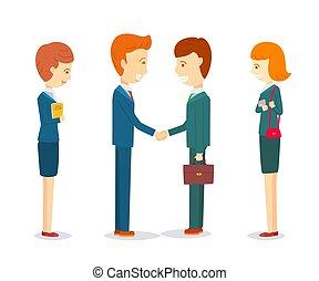 felice, circa, fine, successo, accordo, segno, su, trattare, due, parlare, donne, uomini affari, affari, porgere scossa, augurio, riunione, segretario