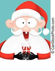 felice, claus, santa, regalo, vettore, cartone animato