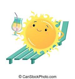 felice, cocktail, sunbed, illustrazione, presa a terra, sole