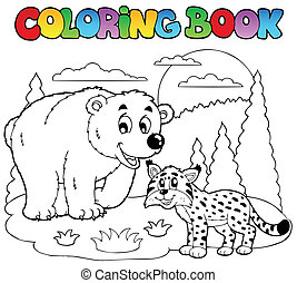 felice, coloritura, animali, libro, 4