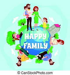 felice, composizione, famiglia, cartone animato