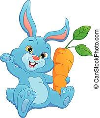 felice, coniglio, presa a terra, cartone animato, carota