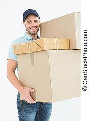 felice, consegna, scatole, portante, cartone, uomo