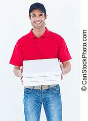 felice, consegna, scatole, tenere pizza, uomo