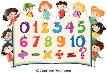 felice, conteggio, bambini, numeri