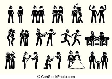 felice, coppia., femmina, lesbica