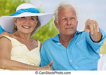 felice, coppie maggiori, indicando, mare, su, uno, spiaggia tropicale