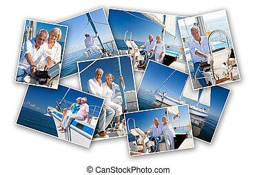 felice, coppie maggiori, navigazione, uno, yacht, barca, fotomontaggio