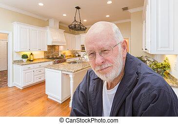 felice, costume, interno, anziano, cucina, uomo