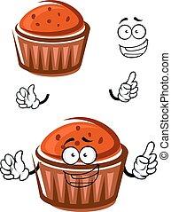 felice, cupcake, carattere, cartone animato, faccia