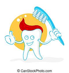 felice, denti spazzola