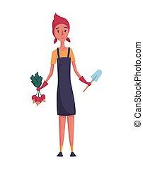 felice, disegno, ravanello, mano, privato, fattoria, contadino, donna, concetto, agricoltura, giardiniere, pala, bianco, fondo., carattere, illustration., o, uomo, cartone animato, elemento