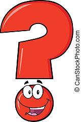 felice, domanda, rosso, marchio