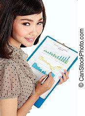 felice, donna d'affari, con, relazione annuale
