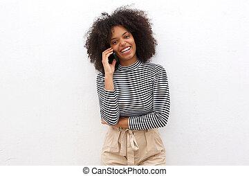felice, donna nera, parlare, su, far male, telefono