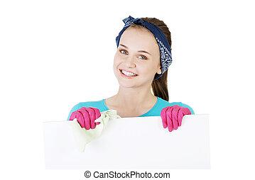 felice, donna pulizia, esposizione, segno bianco, board.