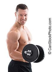 felice, dumbbell, muscolare, sollevamento, uomo