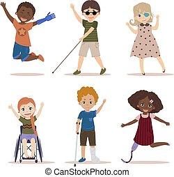 felice, e, attivo, bambini, con, gli utenti disabili