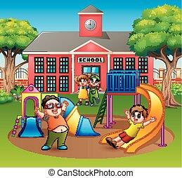 felice, eccitato, insieme, campo di gioco, bambini, divertimento, detenere