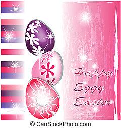 felice, eggy, pasqua, in, rosa, e, viola