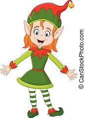 felice, elfo, natale, cartone animato