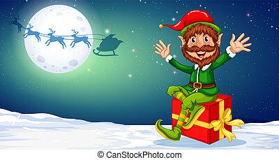 felice, elfo, regalo natale, seduta