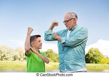 felice, esposizione, muscoli, nipote, nonno