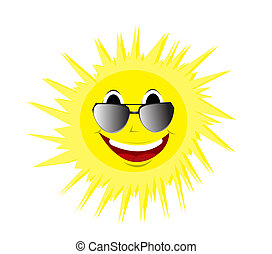 felice, estate, sole, in, occhiali da sole