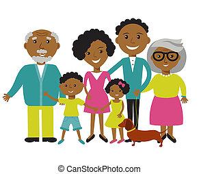 felice, famiglia americana africana, di, quattro, members:, genitori, figlio, e, daughter., bello, cartone animato, caratteri, su, natura, soleggiato, giorno estate, background.vector, illustrazione