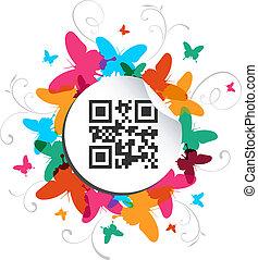 felice, farfalla, tempo primaverile, con, qr, codice, etichetta