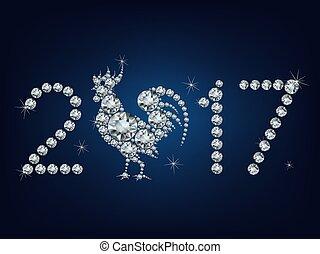 felice, fatto, anno, su, creativo, lotto, diamanti, nuovo,...